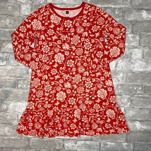 tea Collection Red Floral Ruffle Dress Size 7